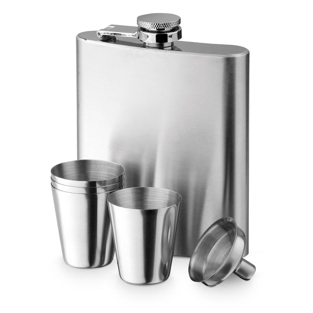Edelstahl-Flachmann-Set - Kapazität 200 ml