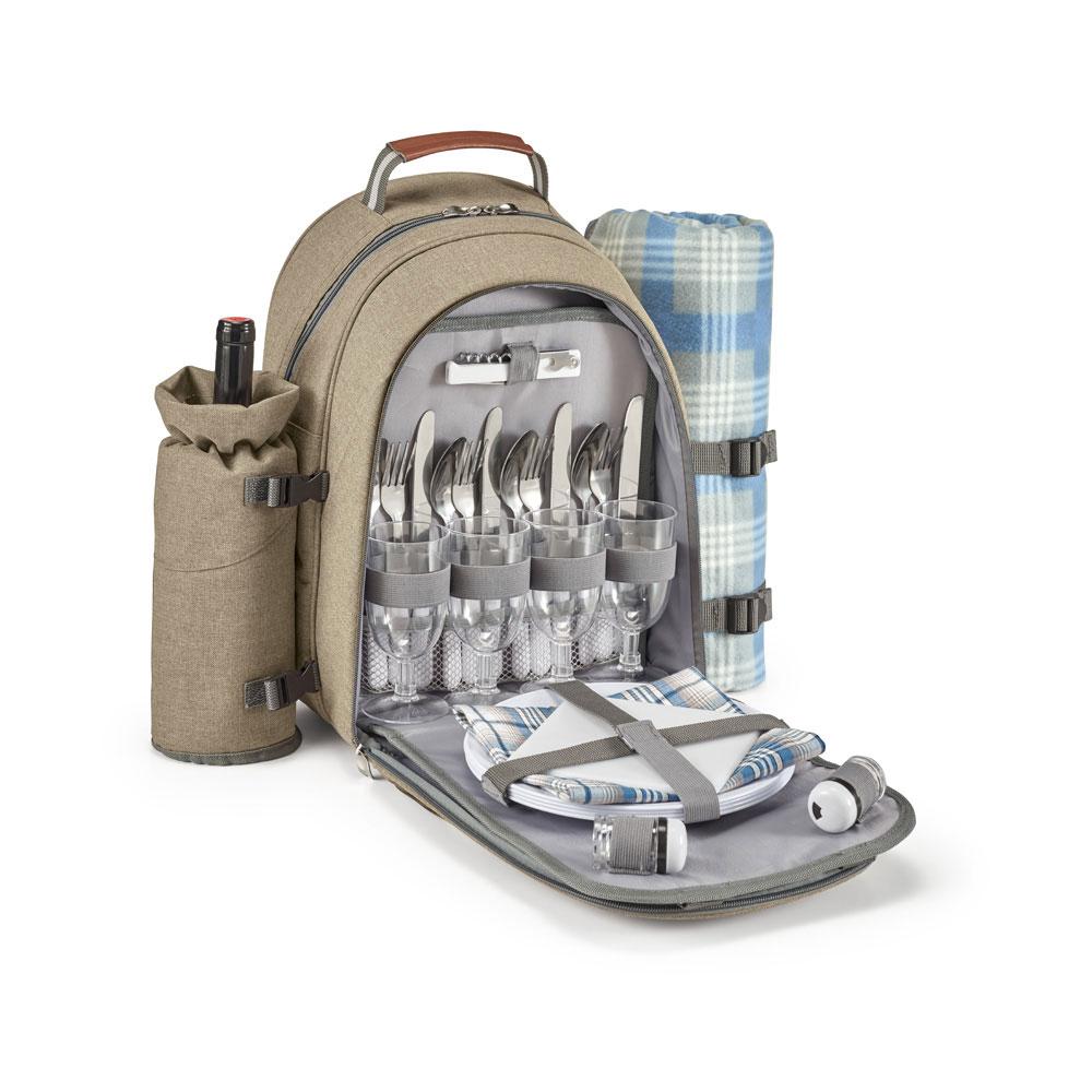 Picknickrucksack - isoliertes Kühlfach - Isolierbeutel für Flasche - Haupfach mit thermischer Beschichtung