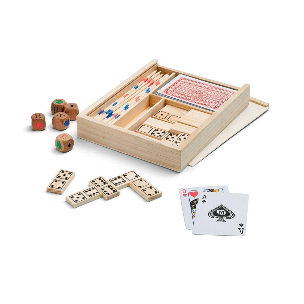Spieleset - für die ganze Familie - Holz - Domino - Mikado - Kartenspiel - Würfel