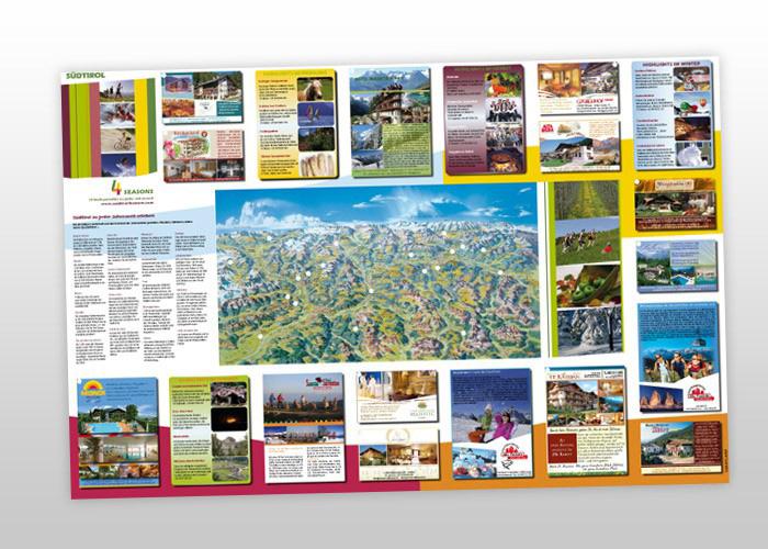 Südtirol 4 Seasons Panorama Faltkarte